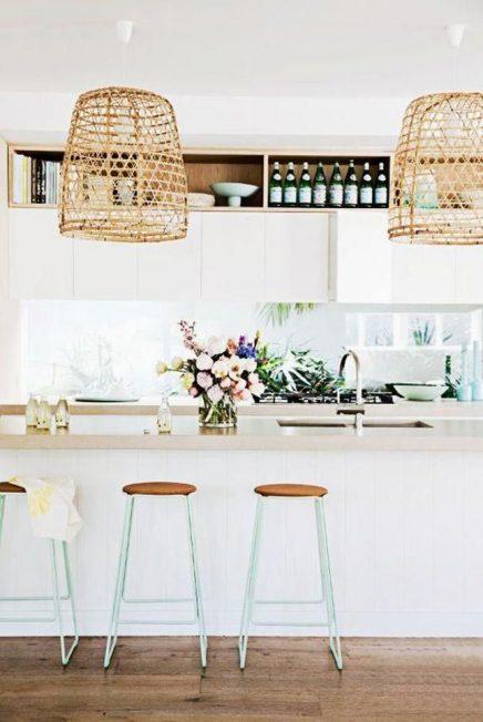 Mand hanglamp boven keuken