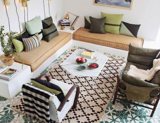 Marokkaanse woonkamer met cementtegels