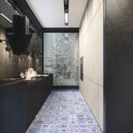 Mat zwarte keuken met Delfst blauwe tegels