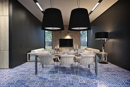 Mat zwarte keuken met delfst blauwe tegels inrichting - Luxe eetkamer ...
