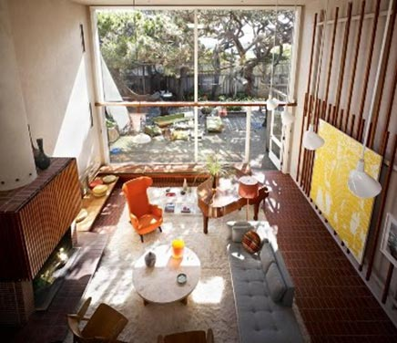 Mid-century woonkamer in San Fransisco