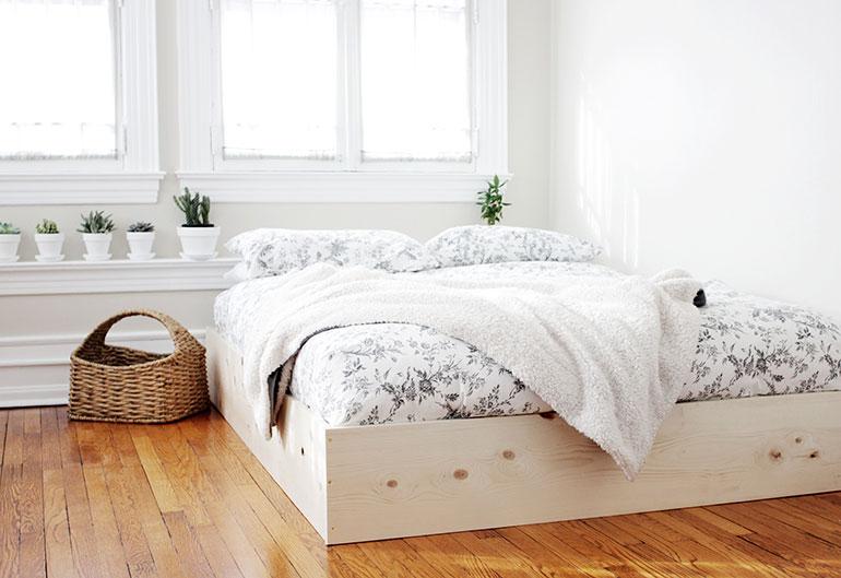 Minimalistisch diy houten bedframe inrichting huis.com