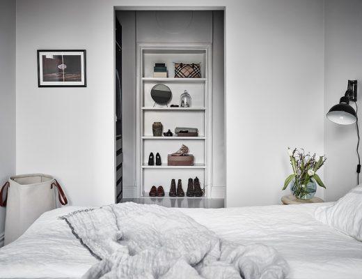 Minimalistisch mooie slaapkamer inloopkast combinatie