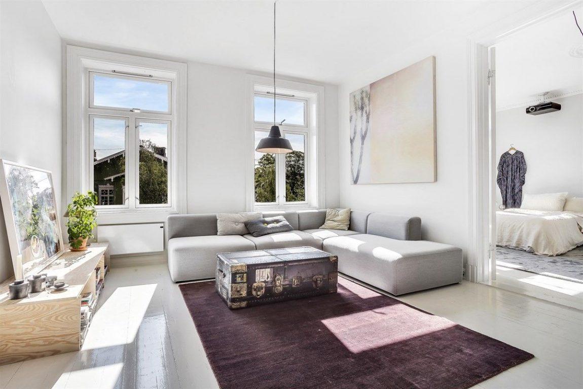 Minimalistisch mooie woonkamer uit Oslo