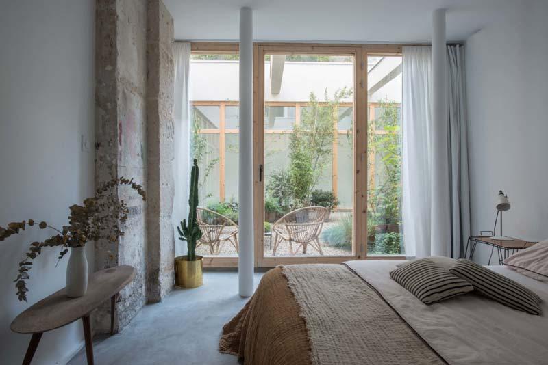 minimalistische loft slaapkamer