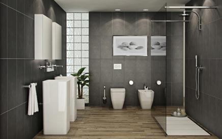Moderne badkamer met vrijstaande wastafels inrichting huis