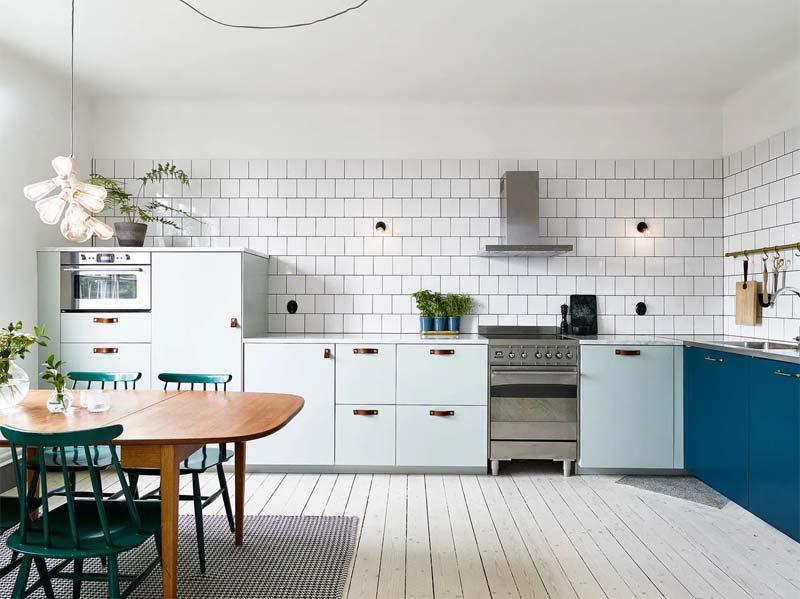 moderne keuken petrol mintgroen
