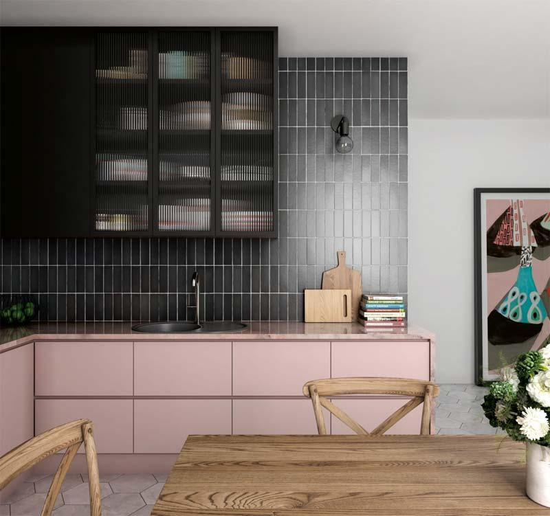 moderne oud roze keuken