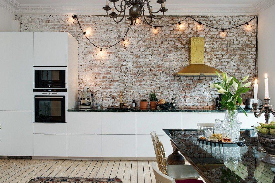 Mooie eclectische woonkeuken inrichting - Binnenkleuren met witte muur ...