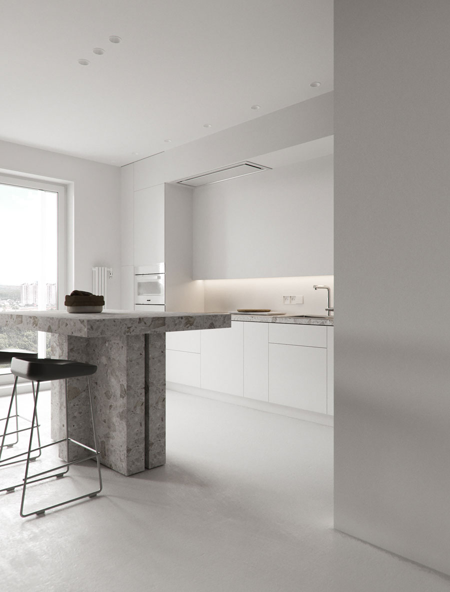 moderne witte open keuken bartafel