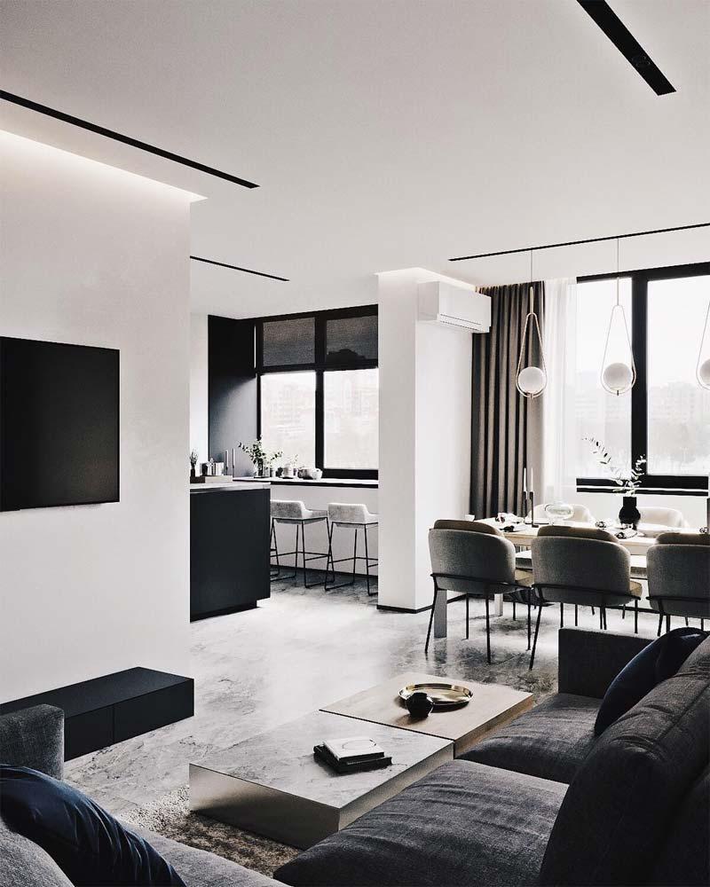 moderne woonkamer sfeervolle ledverlichting