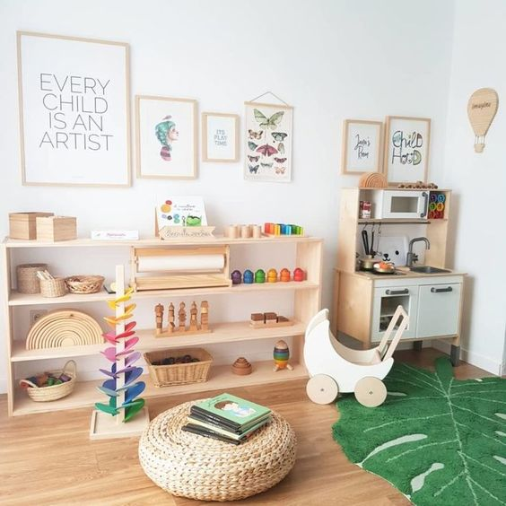 Montessori kinderkamer opbergmogelijkheden
