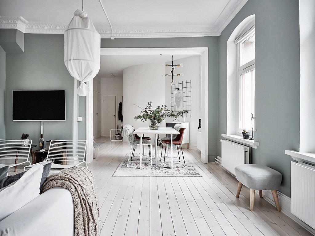 Mooi en klein scandinavisch appartement met groen grijze muren inrichting - Decoratie klein appartement ...