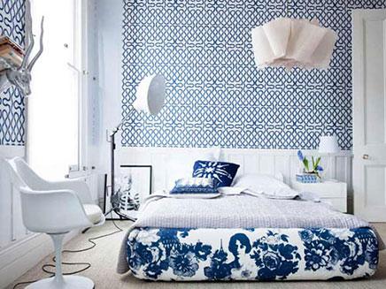 Mooi slaapkamer behang inrichting - Behang patroon voor de slaapkamer ...
