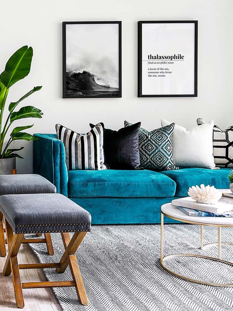 mooie turquoise kleur bank