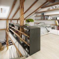 Slaapkamer op zolder met dakraam