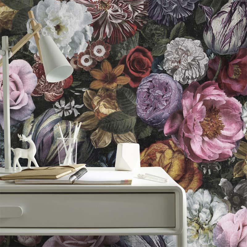 multi kleurrijk bloemen behang karwei