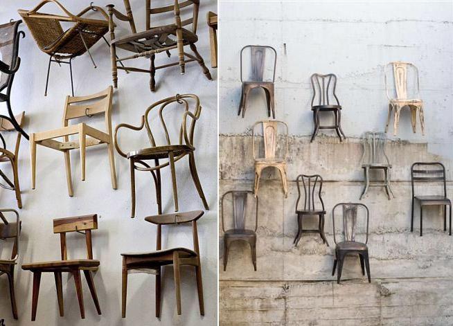 muurcollage stoelen muur