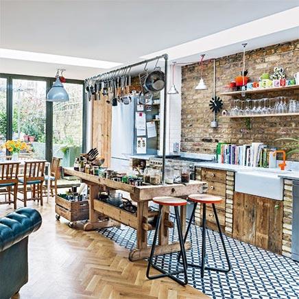 Nonchalant industriële keuken uit Londen