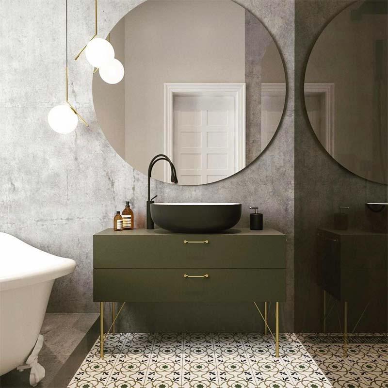 olijfgroen combineren badkamer