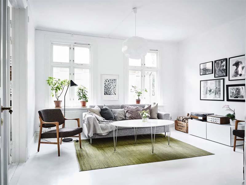 olijfgroen vloerkleed interieur