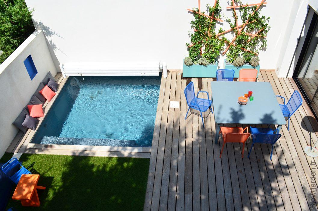 onderhoudsvriendelijke tuin met zwembad inrichting. Black Bedroom Furniture Sets. Home Design Ideas