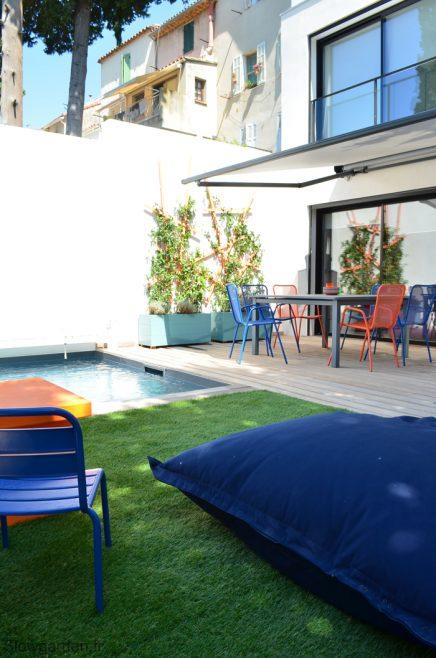 Onderhoudsvriendelijke tuin met zwembad inrichting - Mini piscine pour terrasse ...