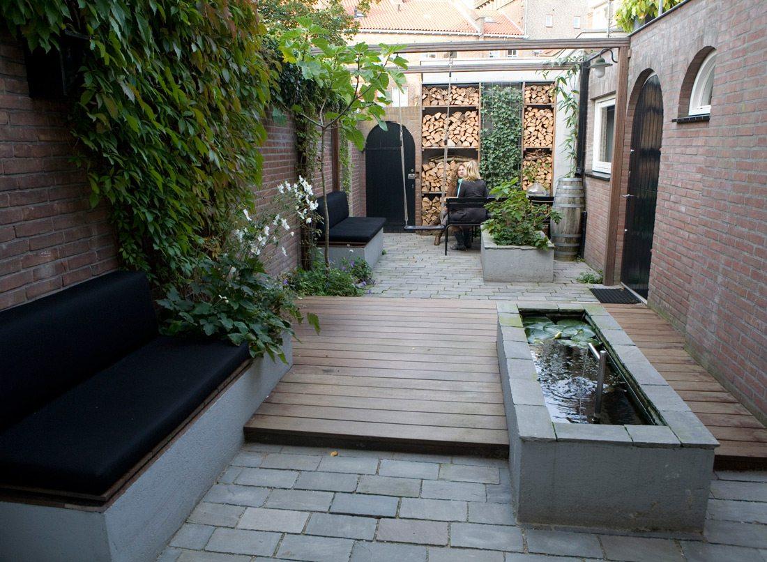 Ontwerp voor een kleine smalle tuin op het Noorden