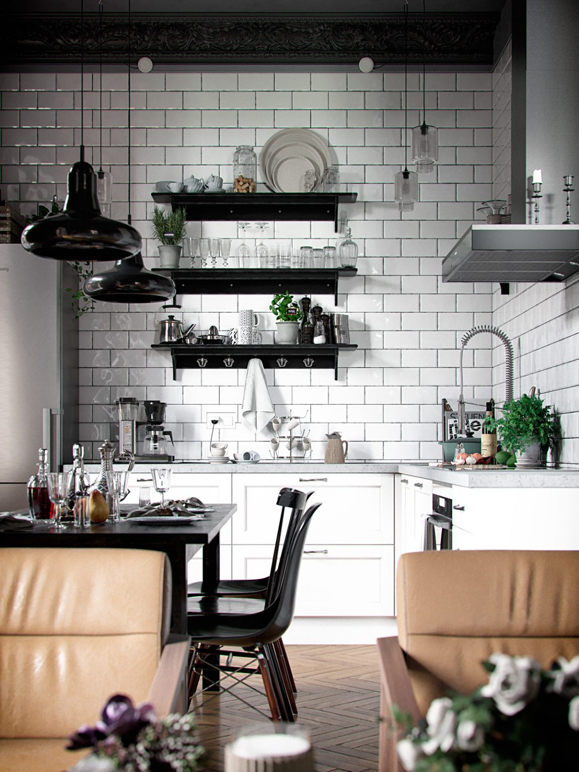 Woonkamer met een eclectisch interieur en een zwart for Eclectische stijl interieur