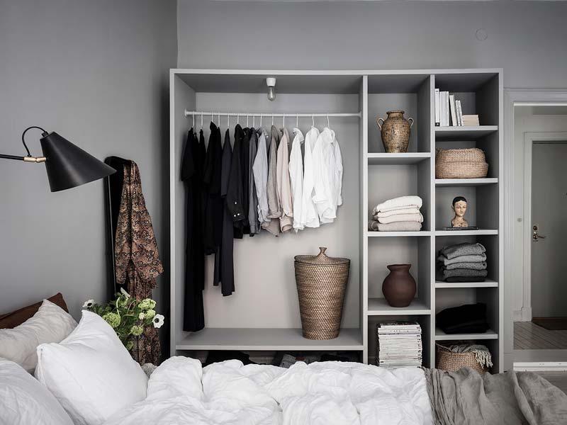 open kledingkast slaapkamer