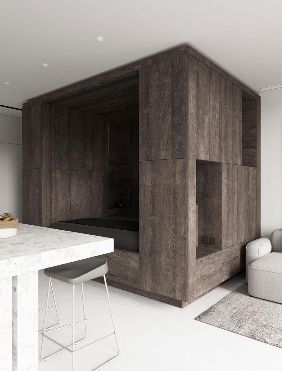 open slaapkamer woonkamer