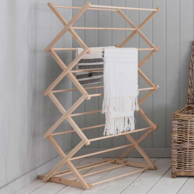 Opvouwbare houten wasrek