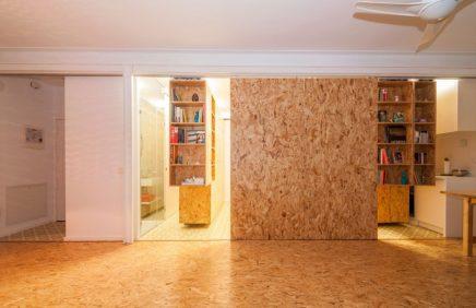 Inrichting van een flexibel appartement in madrid for Interieur osb