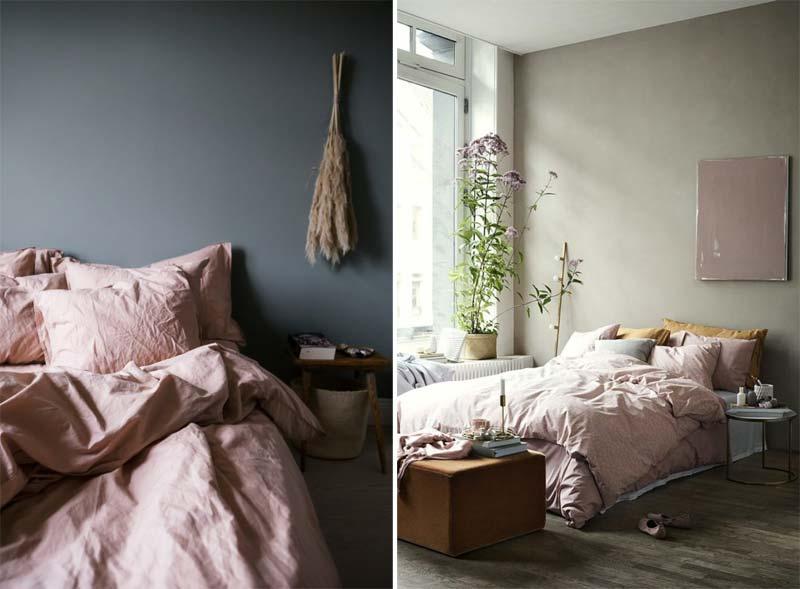 oud roze beddengoed slaapkamer