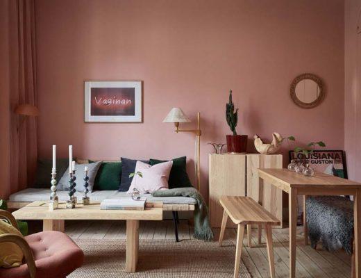 oud roze interieur