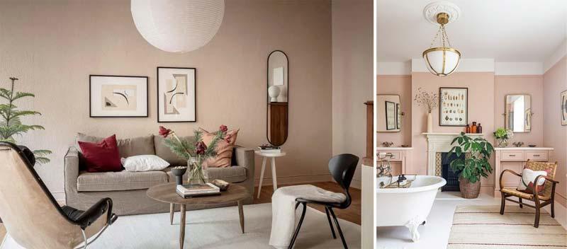 oud roze interieur muren stijlen