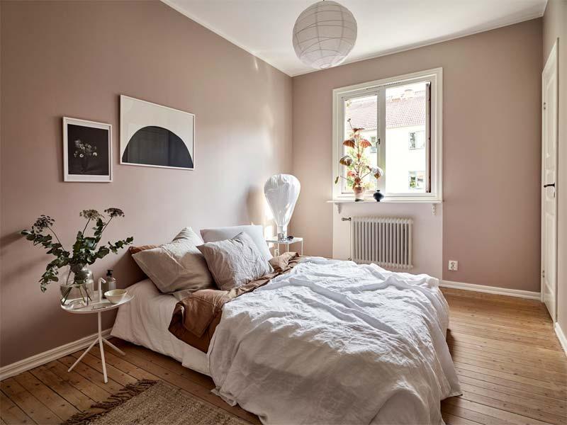 oud roze muren slaapkamer combineren wit