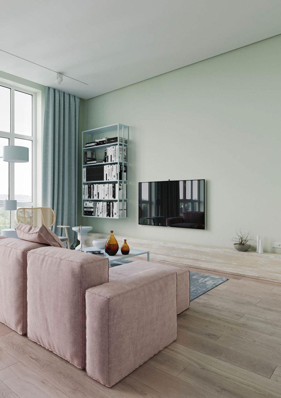 Pastelgroene muren in woonkamer