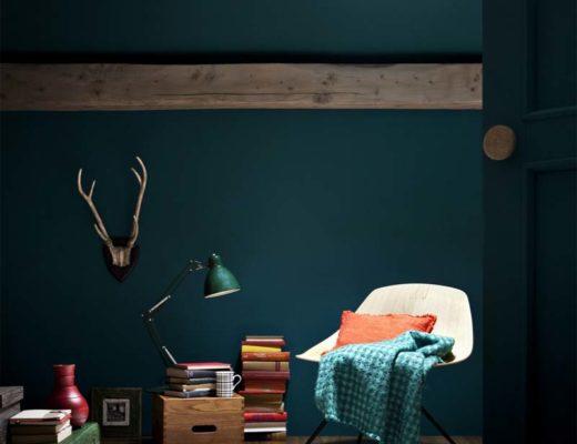 petrol kleur interieur muren