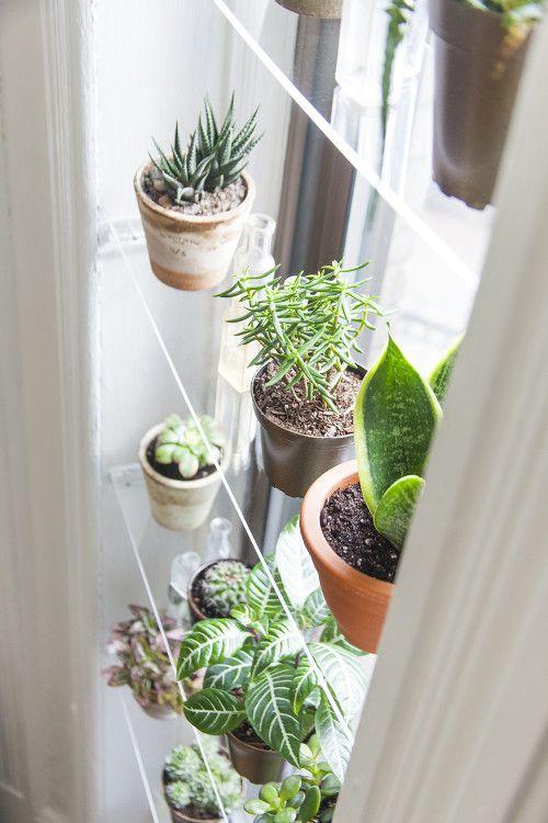 Planken vóór het raam in kleine keuken