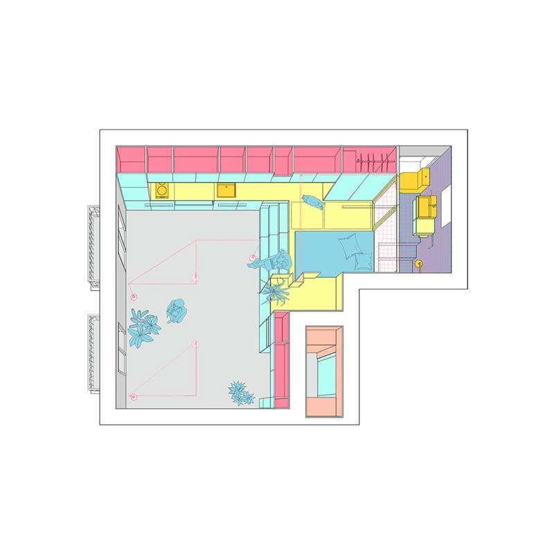 plattegrond klein appartement 34m2