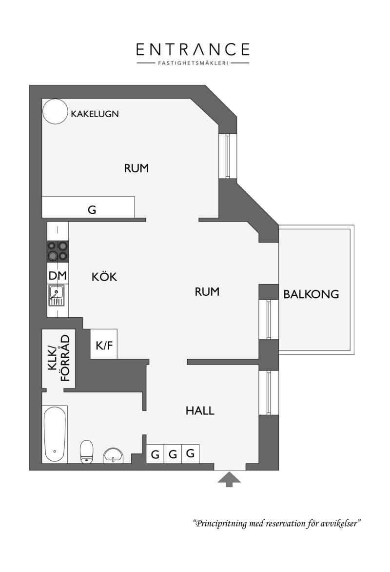 plattegrond klein appartement 54m2