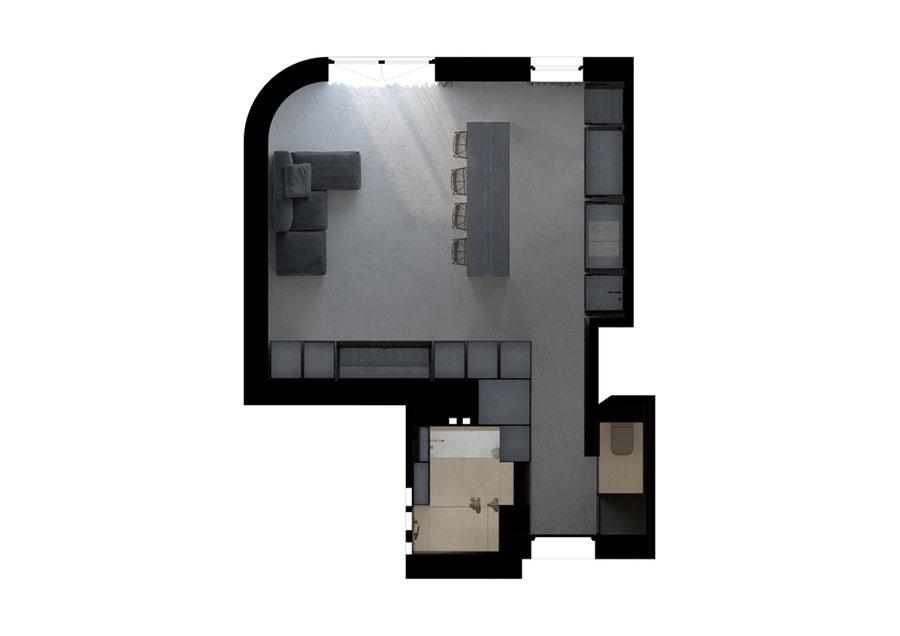 plattegrond klein appartement