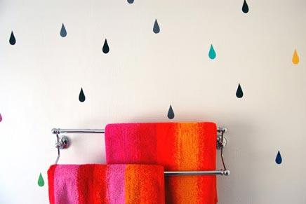 Regendruppels in de badkamer
