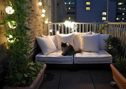 romantic balcony with light. Black Bedroom Furniture Sets. Home Design Ideas