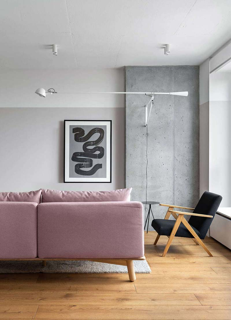 roze bank modern interieur