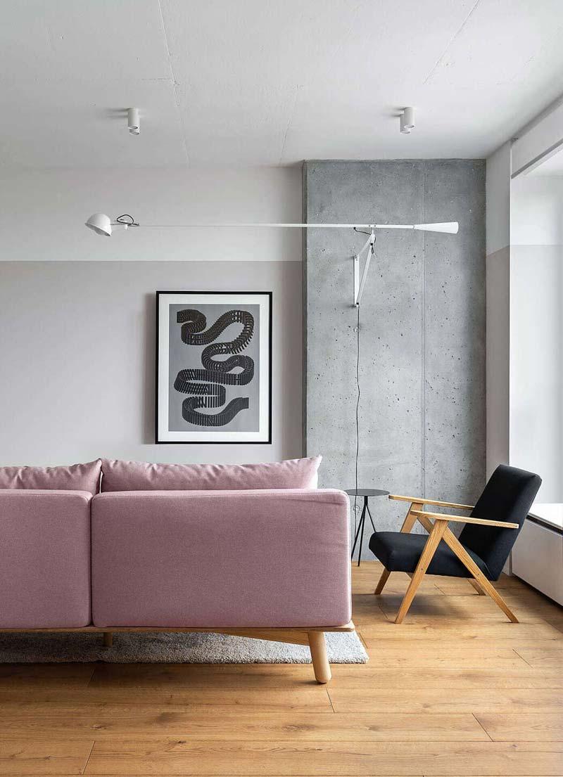 roze bank modern interieur