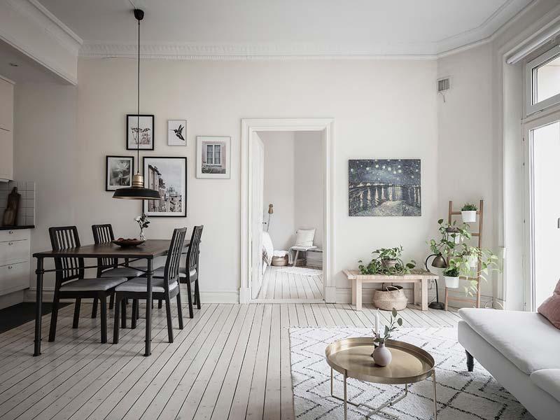 scandinavische woonkamer open keuken