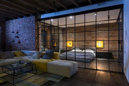 Sfeervolle industriële loft slaapkamer