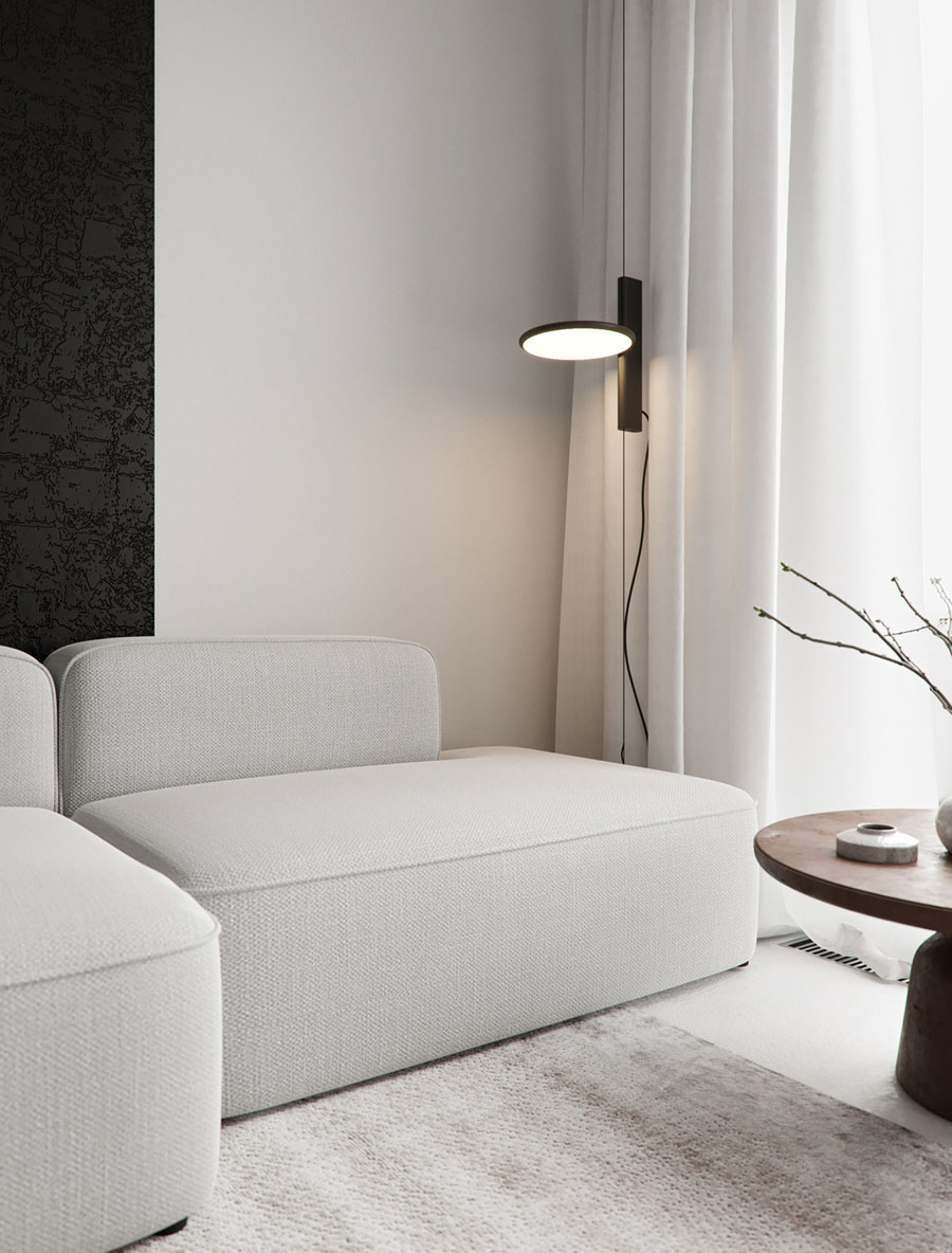sfeervolle woonkamer bank lamp
